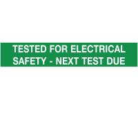 'Tested for Electrical Safety – Next Test Due' Self-Adhesive Labels