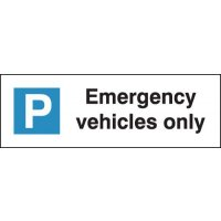 'Emergency Vehicles Only' Parking Bay Sign for Wall or Post-Mounting