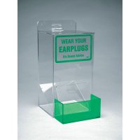 Clear Plastic Earplug Dispenser with Printed Sign