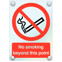 Stylish Clear Acrylic 'No Smoking Beyond This Point' Sign