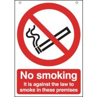 Double-sided 'No smoking/It is against the law to smoke' hanging sign