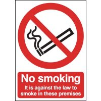 Against The Law To Smoke In These Premises' Self-Adhesive Window Sign