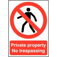 Bold warning sign informing private property no trespassing