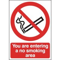 'You Are Entering a No Smoking Area' Sign with Accompanying Image