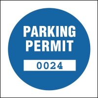 Re-useable parking permit window labels (custom numbering)