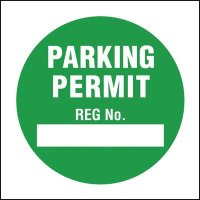 Re-usable window cling parking labels - parking permit reg no.