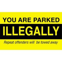 'You are Parked Illegally' PVC Parking Control Window Labels