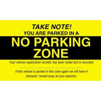 Re-usable Parking Control Window Labels - No Parking Zone