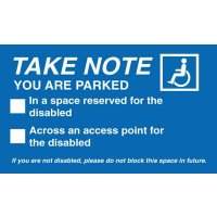 Vehicle Window Labels Warning Driver They Are Parked in a Disabled Space
