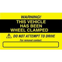 Self-Adhesive 'This Vehicle Has Been Wheel Clamped' Windscreen Label