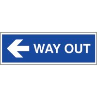 Rigid plastic 'way out' left directional arrow sign