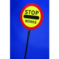 Lightweight Aluminium and Polyester Folding 'Stop – Works' Lollipop Sign