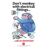 Full colour 'Don't monkey with electrical fittings...' RoSPA poster