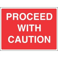 Weather-resistant 'proceed with caution' site sign