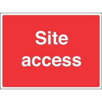 Informative sign for construction sites stating 'site access'