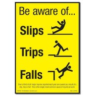 'Be Aware of Slips, Trips & Falls' Accident Prevention Poster