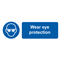 Self-Adhesive 'Wear Eye Protection' Labels with Symbol