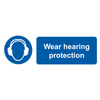 Pack of 6 vinyl safety labels requesting wear hearing protection