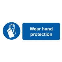 Self-Adhesive 'Wear Hand Protection' Labels with Symbol