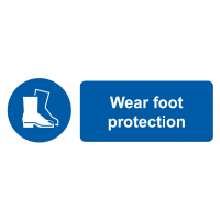 "Self-adhesive ""wear foot protection"" safety labels"