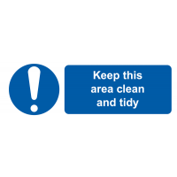 Self-Adhesive Vinyl 'Keep This Area Clean And Tidy' Labels