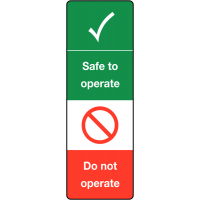Safe to operate/do not operate tag for safety management system