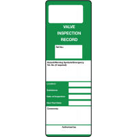 'Valve Inspection Record' Write-On Polyester Maintenance Tags