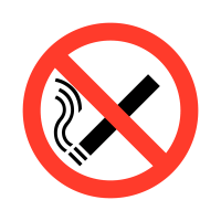 Durable no smoking vinyl safety labels on a roll