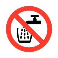 Not Drinking Water Symbol Only High-Gloss Self-Adhesive Vinyl Labels