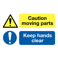 'Caution Moving Parts/Keep Hands Clear' Self-Adhesive Warning Labels On-a-Roll