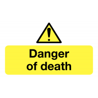 Danger of Death Stickers for Workplaces
