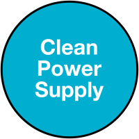 'Clean Power Supply' Self-Adhesive Vinyl Electrical Plug Warning Label