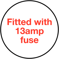 Easy Peel 'Fitted With 13Amp Fuse' Plug Warning Labels