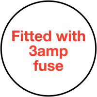 Self-adhesive 'Fitted With 3Amp Fuse' Plug Warning Labels