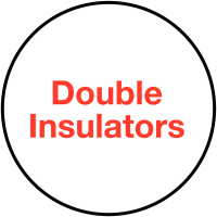 'Double Insulators' Vinyl Self-Adhesive Plug Warning Labels
