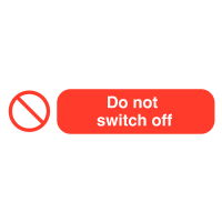 Self-adhesive 'do not switch off' socket warning labels