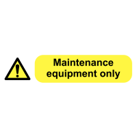'Maintenance Equipment Only' Self-Adhesive Electrical Socket Labels