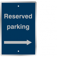 Weather-resistant 'Reserved Parking' Sign with Right Arrow Image