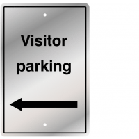 Visitor Parking Left Arrow Post Mountable UV Resistant Traffic Sign