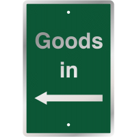 Post Mountable Traffic Signs - Goods In (Left Arrow)