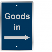 Post Mountable Traffic Signs - Goods In (Right Arrow)