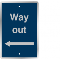 Basic 'way out' left arrow post-mountable traffic signs