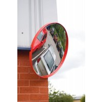 Red-Framed Circular Traffic Safety Mirror