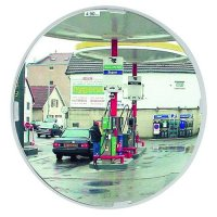 White framed lightweight circular traffic mirrors