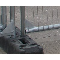 Secure base to house anti-climb mesh panel fencing