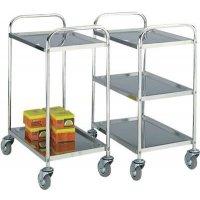 Wheeled shelf trolleys in stainless steel