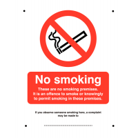 Aluminium 'No smoking/These are no smoking premises' vandal-resistant sign
