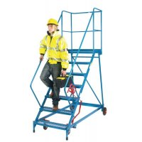 Easy-steer wide mobile access steps