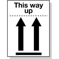 This Way Up Packaging Safety Label with Symbol and Text