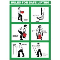Rules for safe lifting' illustrated manual handling health & safety wall chart